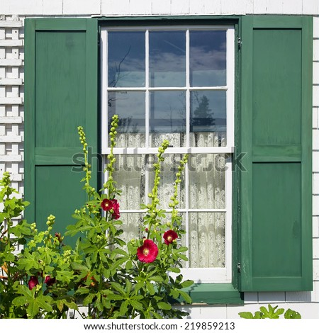Window detail at Green Gables House on Prince Edward Island  Made famous in the book 'Anne of Green Gables' by L M Montgomery. - stock photo