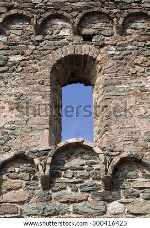 Window - details of a beautiful old stone castle - stock photo