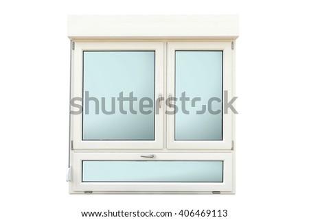 window frame isolated on white - stock photo