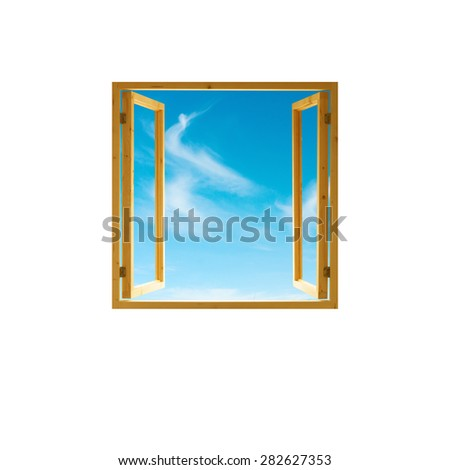 window frame, open wooden,   sky view, isolated on white background - stock photo