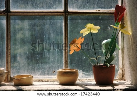 Window from inside view of old house - stock photo