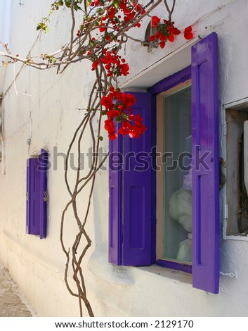 Window from Mykonos, Greece - stock photo