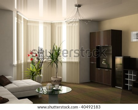 Window in a drawing room - stock photo