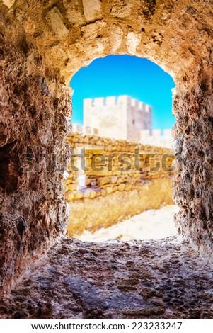 Window in Frangokastello fortress. Crete, Greece  - stock photo
