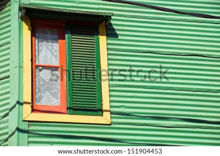 Window in La Boca, Buenos Aires - stock photo