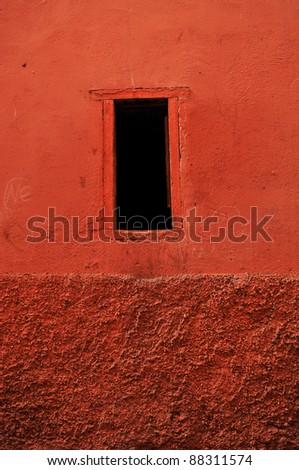 window in Marrakech's medina (old town). In Marrakech the houses are traditionally pink. Morocco. - stock photo