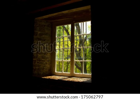 Window in Old Mill - stock photo