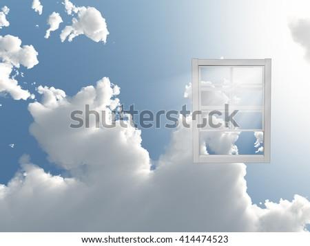 Window in sky 3D Render - stock photo