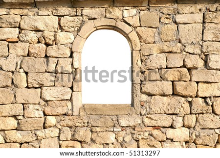 Window in the ancient stone wall white isolated - stock photo