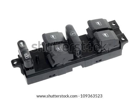 Window master switch control panel isolated on white background - stock photo
