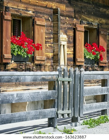 window of a typical old austrian farmhouse - stock photo