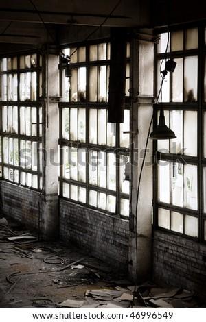 Window Of Abandoned Factory - stock photo