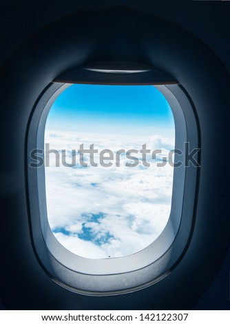 window of airplane - stock photo