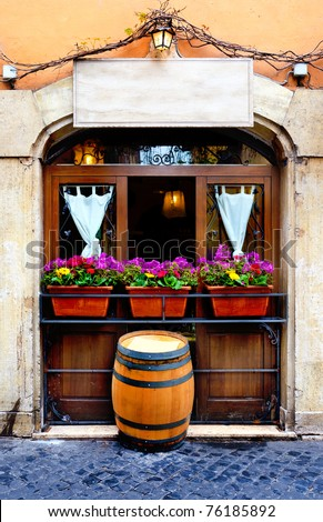 window of an italian restaurant, Rome, Italy - stock photo