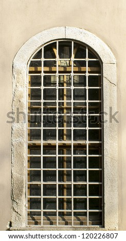 Window of prison in Jerusalem old city - stock photo