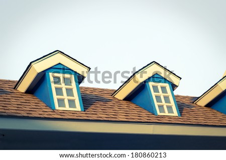 Window on second floor of home,vintage style color. - stock photo