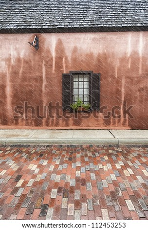 Window on the street.  St. Augustine, FL, USA. - stock photo