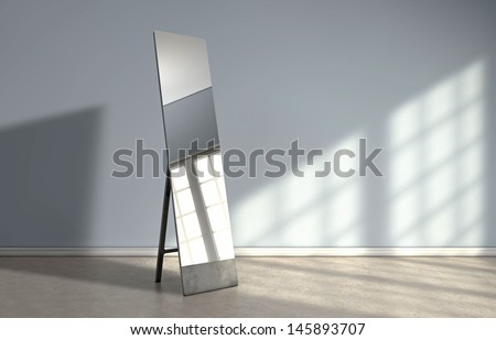 Window reflection on a mirror - stock photo