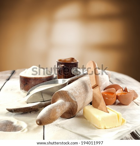 window shadow and flour table  - stock photo