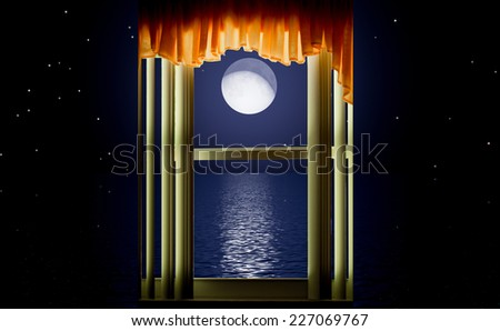 Window showing sea with moon and stars - stock photo