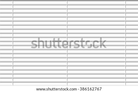 Window shutters. Office interior blinds. Window decor. Horizontal window blind with chain. Vector illustration. Blue window blinds. Office accessories. - stock photo