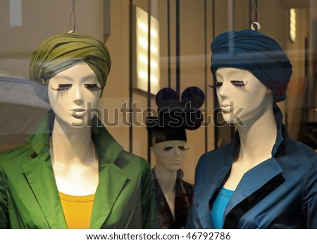 window store mannequins - stock photo