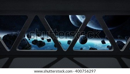Window view of space from a space station 'elements of this image furnished by NASA' - stock photo