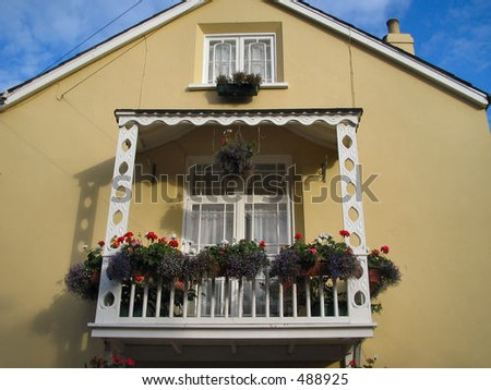 Window with balcony - stock photo