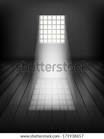 Window with bars. Prison interior. Raster copy  - stock photo