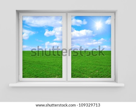 Window with Beautiful Landscape Behind - stock photo