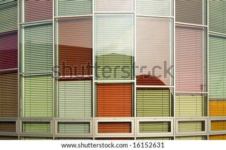 window with colorful blinds - stock photo