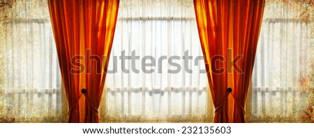 Window with curtains and frosty pattern on winter glass morning light background - stock photo