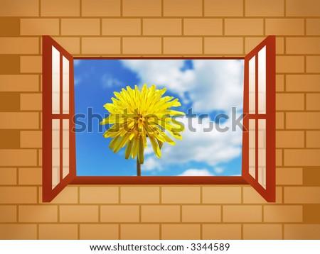 Window with dandelion - stock photo