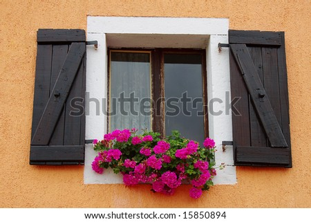Window with flowers on a window sill - stock photo