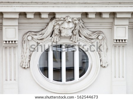 Window with lion - stock photo