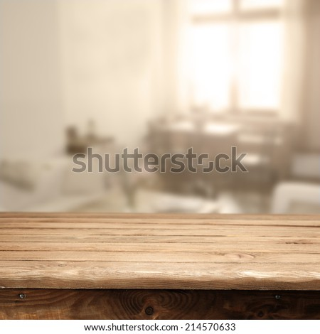 window with old brown table with sunlight  - stock photo