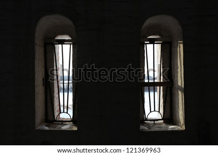 window with prison bars - stock photo