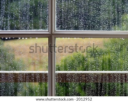 Window with Rain Drops - stock photo