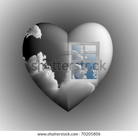 Window with sky in heart - stock photo
