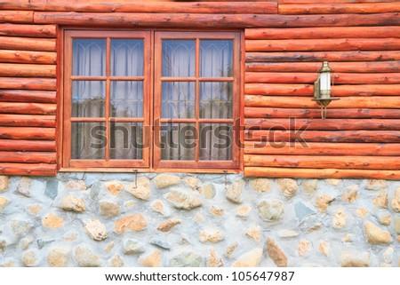 window , wood and rock wall - stock photo