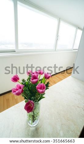 window zone in studio room - stock photo