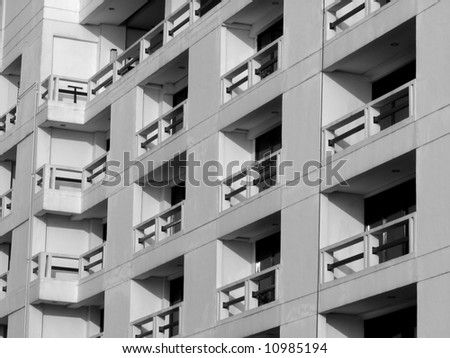 windows and balconies in black & white - stock photo