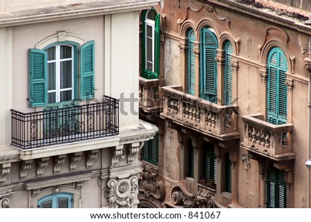 Windows and balconies in Messina, Italy. - stock photo