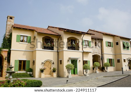 Windows, Balcony in House Tuscany Style, Italy, Europe - stock photo