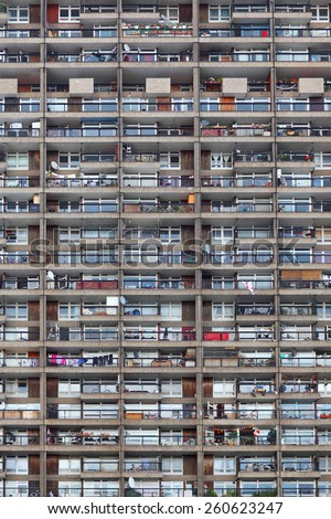 Windows, balcony view, city view, windows pattern - stock photo