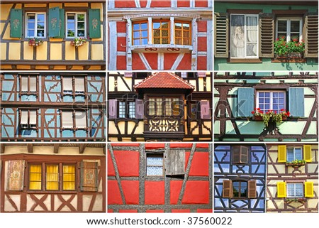 Windows collage. Traditional architecture of El'zas, France - stock photo