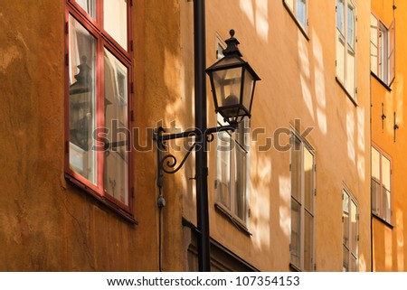 Windows in Stockholm Old town - stock photo