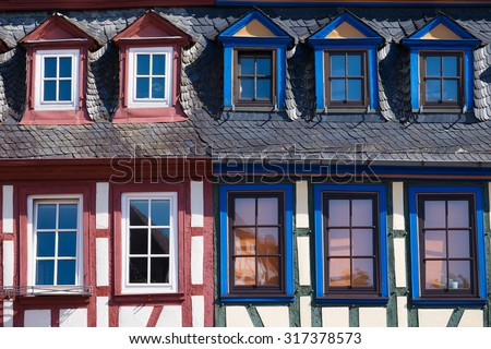 Windows in the old town of Gelnhausen/Germany - stock photo