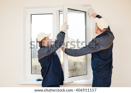 windows installation worker - stock photo