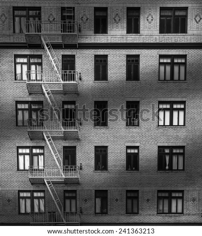 Windows of Building Black and White - stock photo